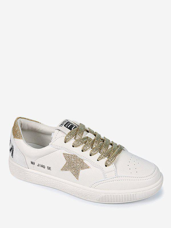 New Star Sequined Lace Up Sneakers