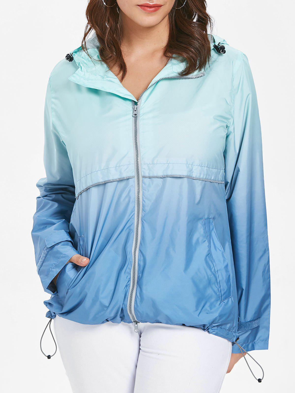Affordable Hooded Plus Size Ombre Zip-Up Jacket
