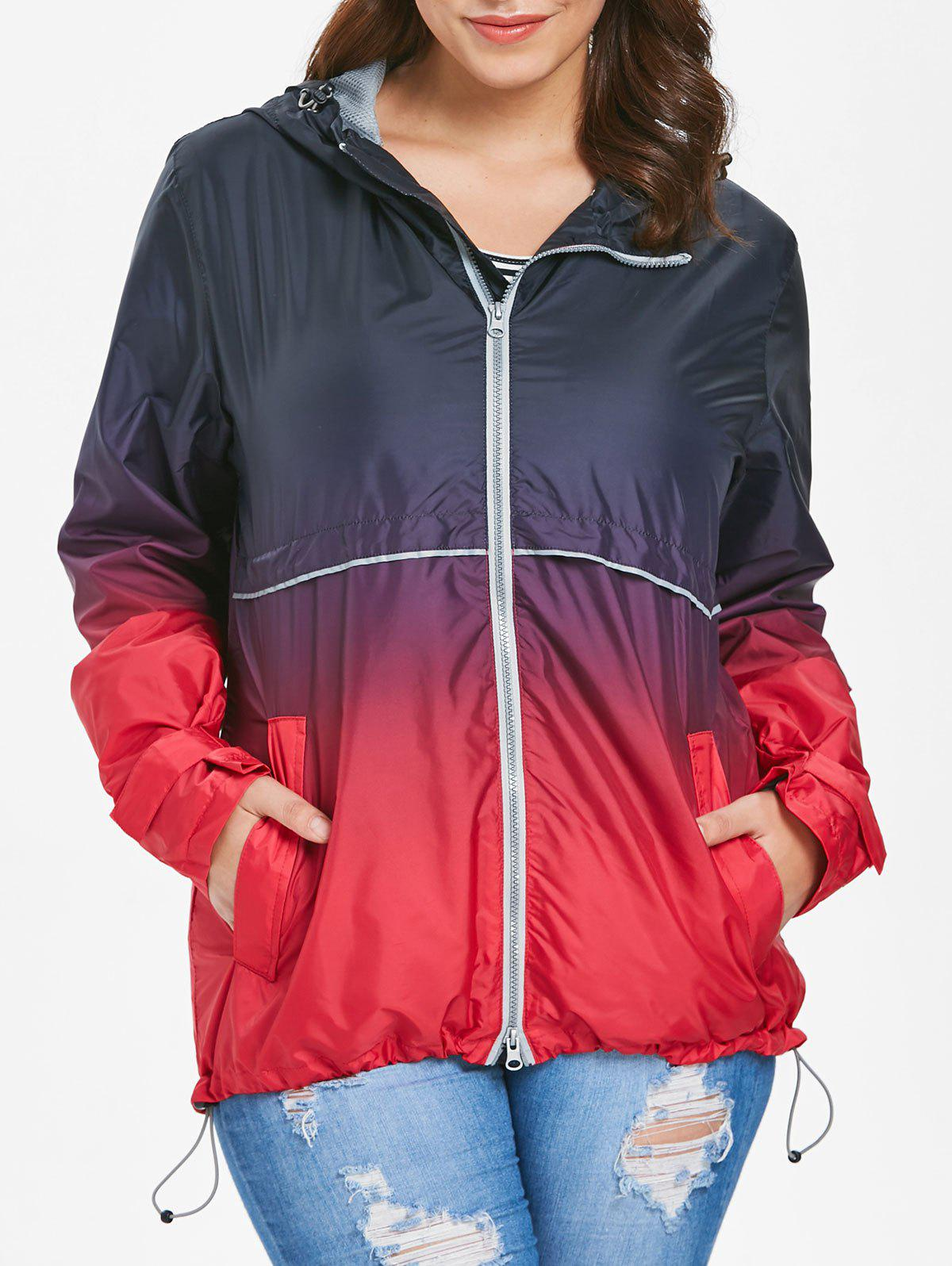 Fashion Hooded Plus Size Ombre Zip-Up Jacket