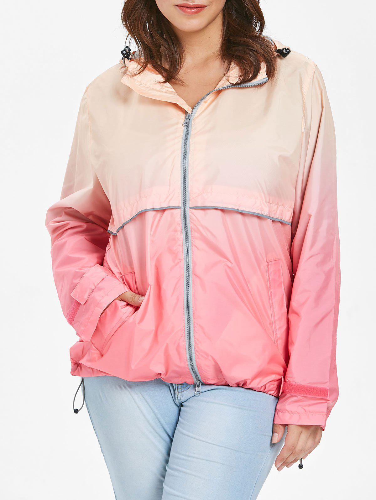 Store Hooded Plus Size Ombre Zip-Up Jacket