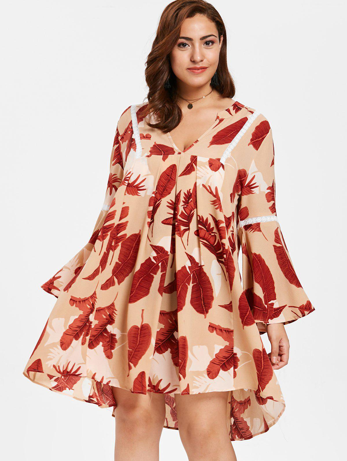 5781d14eb33 44% OFF  Plus Size Leaves Print Bell Sleeve Dress