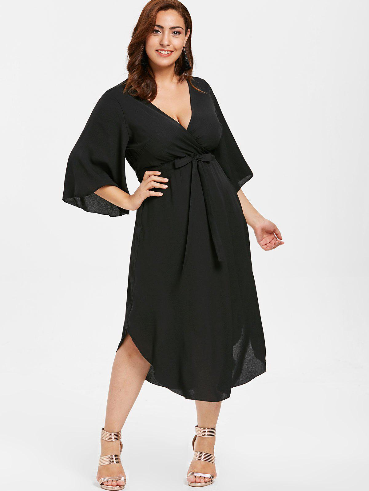 Fashion Plus Size Drawstring Asymmetric Dress