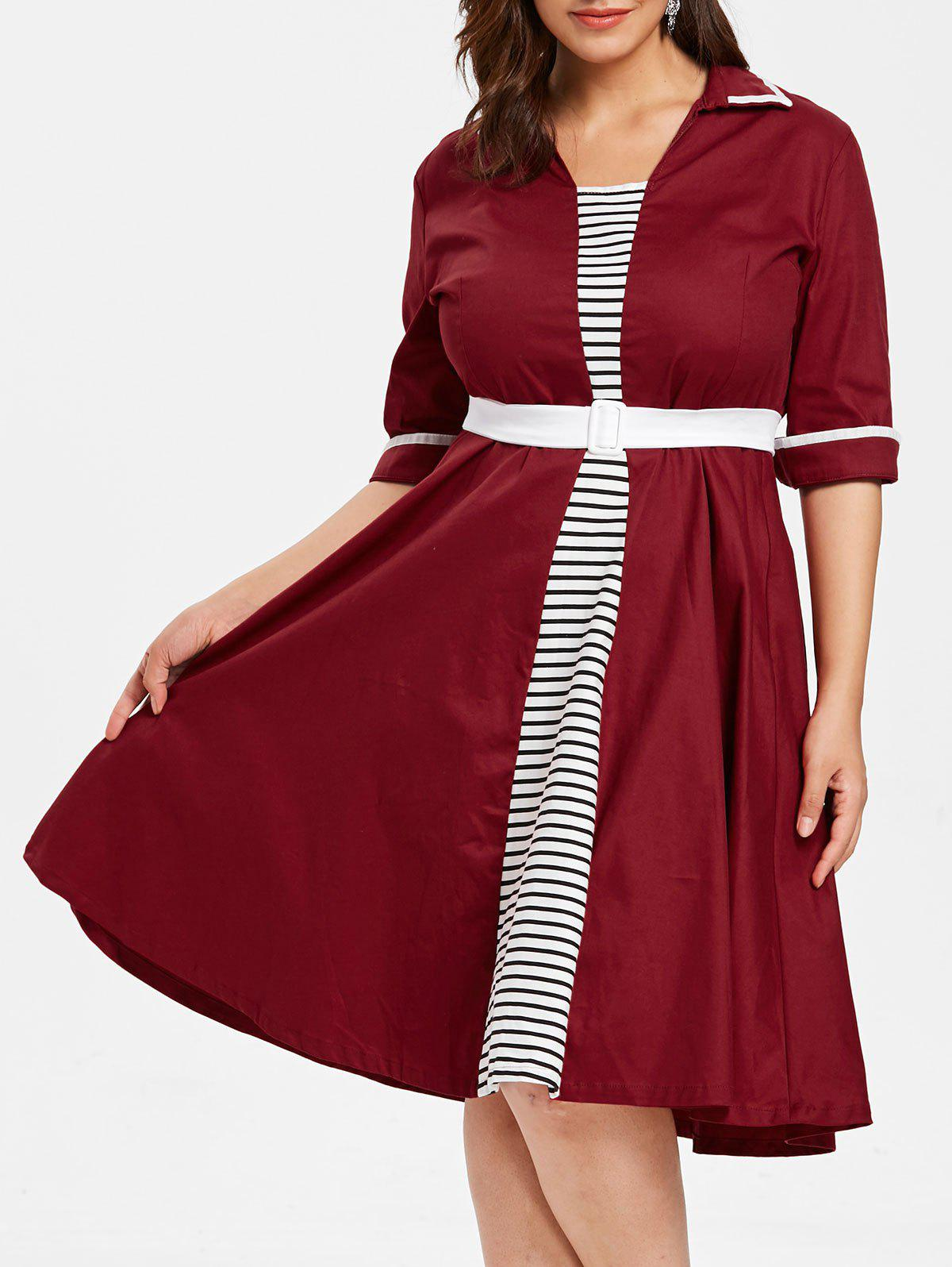 Online Plus Size Striped Flared Dress with Belt