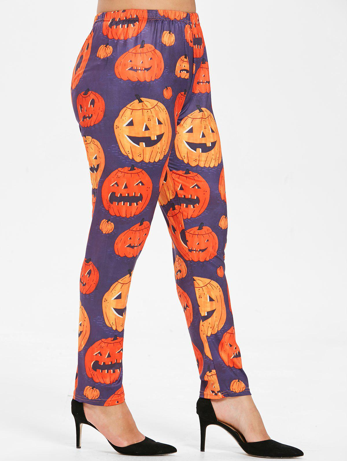 Fancy Plus Size Halloween Pumpkin Leggings