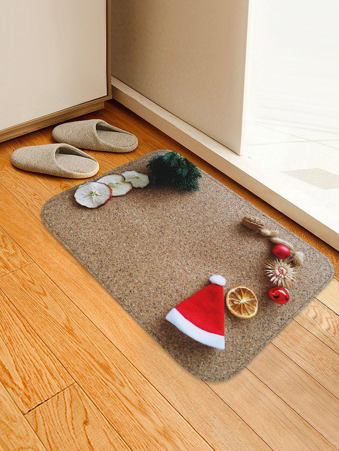 Shops 3D Christmas Hat Sandbeach Printed Decorative Flannel Bath Mat