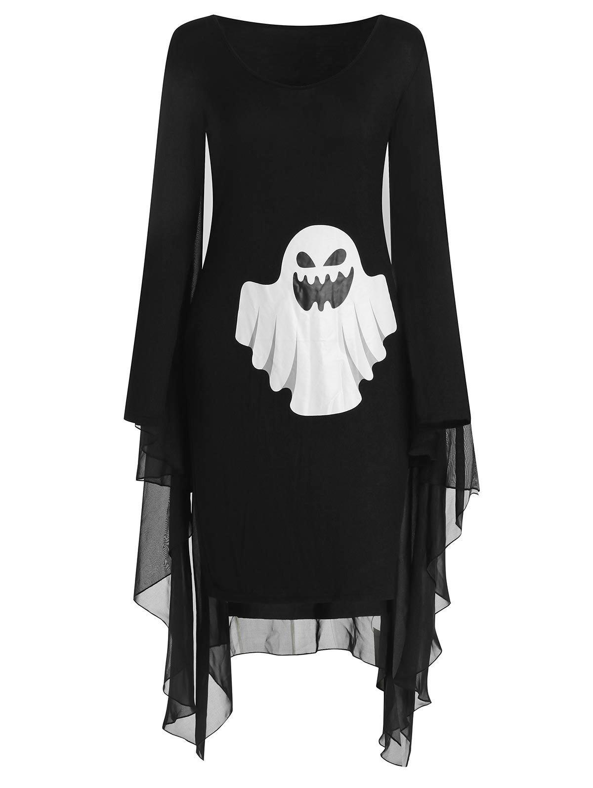 Sale Halloween Ghost Print Capelet Dress