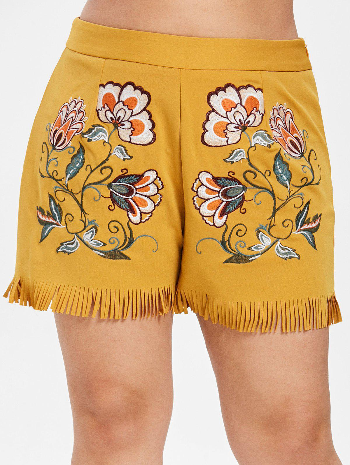 Best Plus Size Zipper Floral Embroidered Shorts