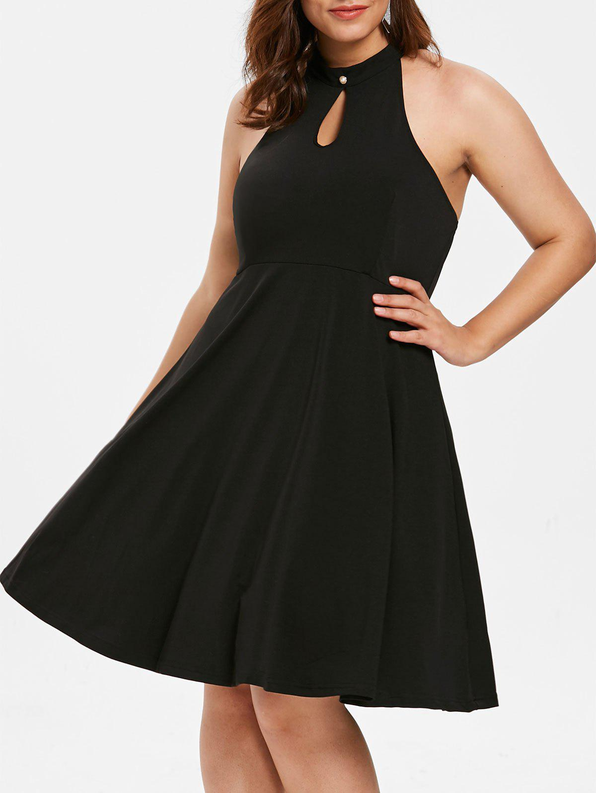 Sale Plus Size Keyhole Flared Dress
