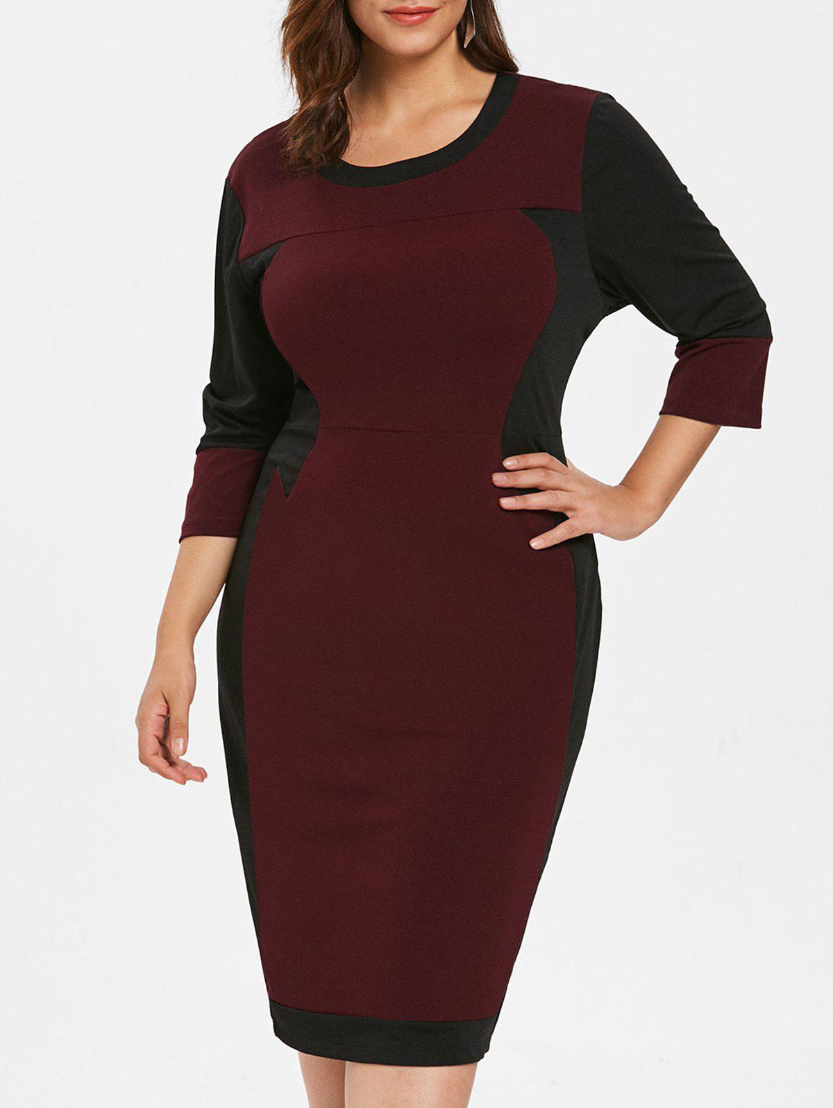 Outfit Plus Size Patchwork Bodycon Dress