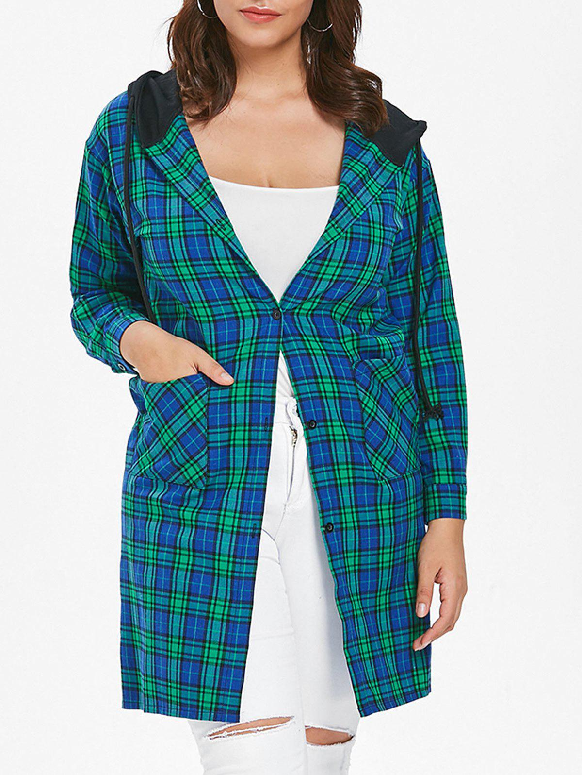 Cheap Plus Size Plaid Hooded Coat