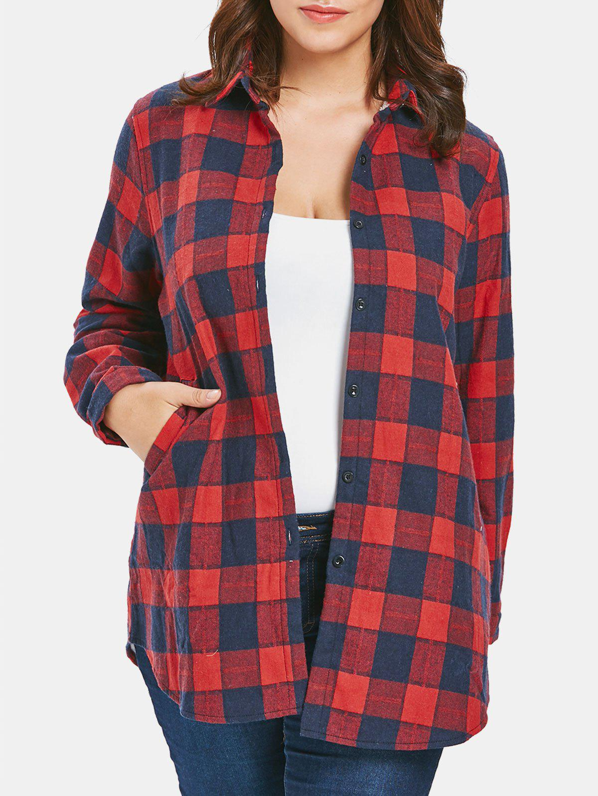Outfits Plus Size Plaid Fleece Coat
