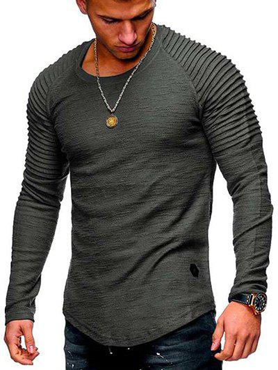 Buy Solid Color Patch Detail Pleated Long Sleeve Tee