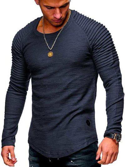 Hot Solid Color Patch Detail Pleated Long Sleeve Tee