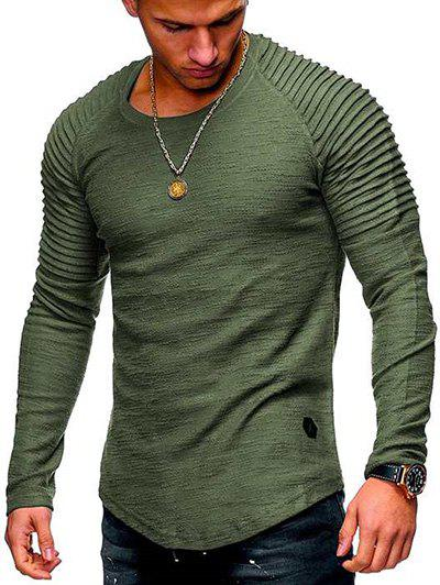 New Solid Color Patch Detail Pleated Long Sleeve Tee
