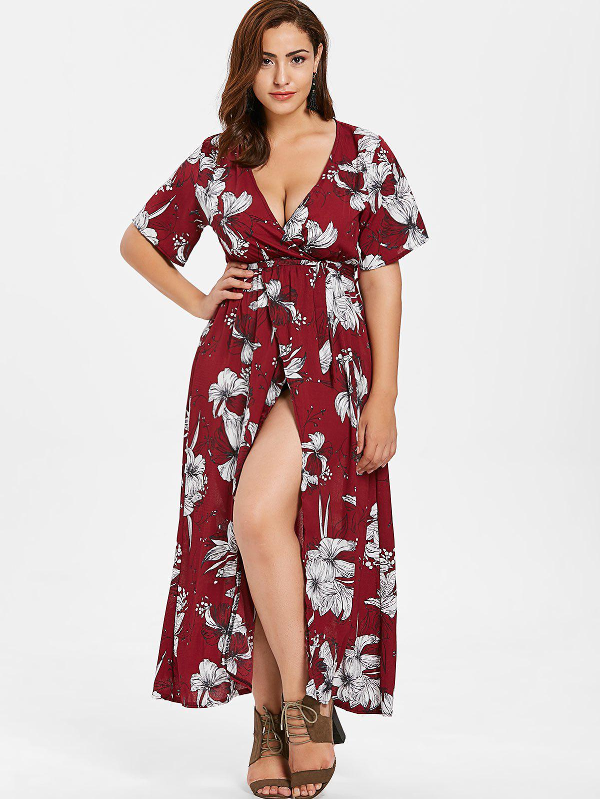 Hot Floral Slit Maxi Plus Size Dress