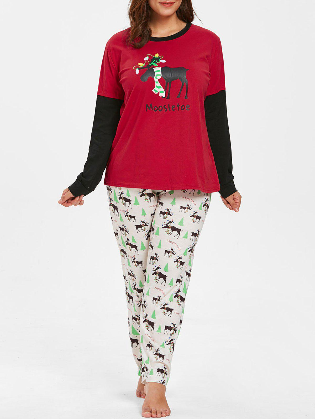 Plus Size Christmas Pajamas.Christmas Elk Plus Size Long Sleeve Pajamas