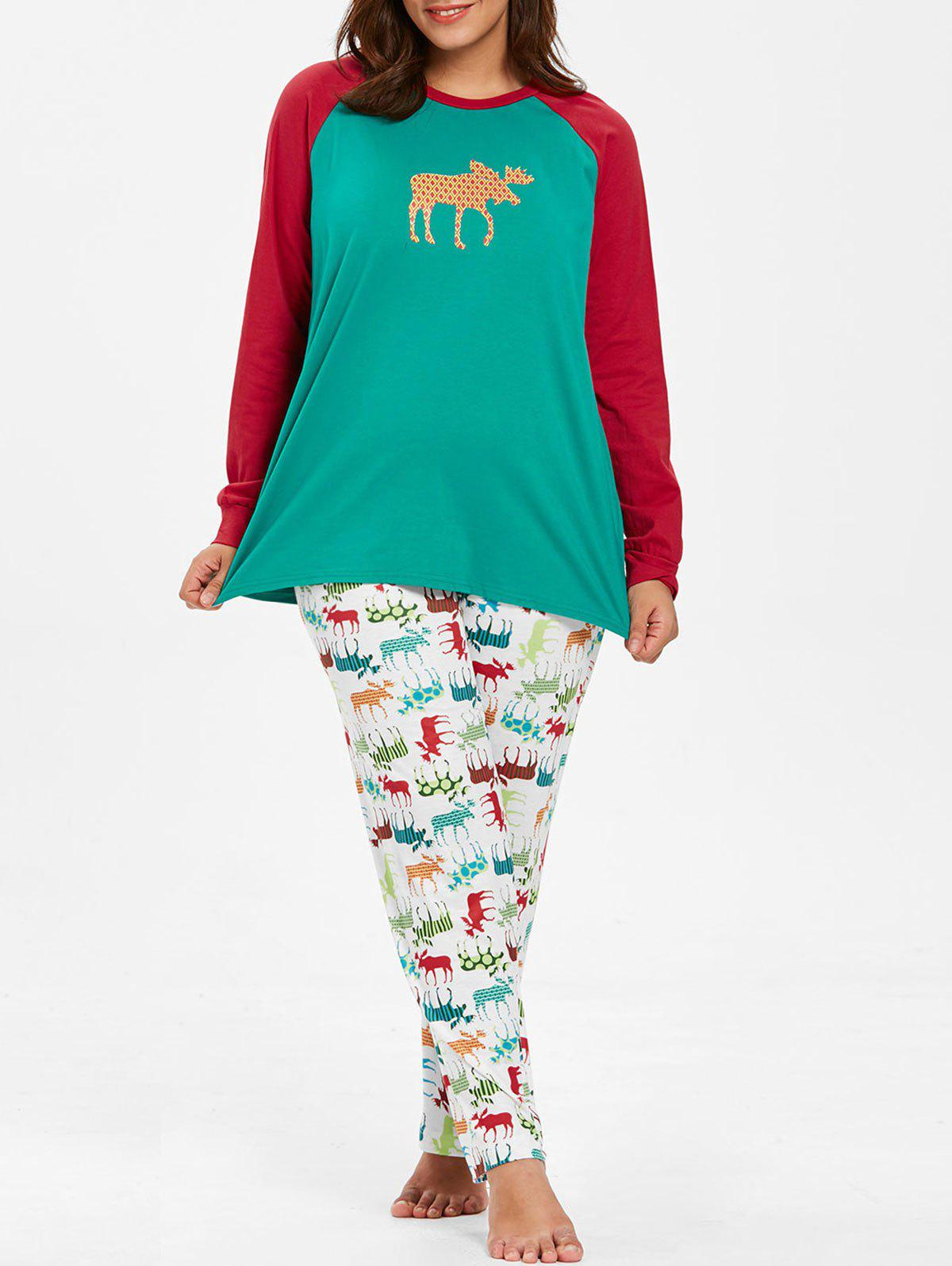 Plus Size Christmas Pajamas.Plus Size Christmas Reindeer Print Pajamas