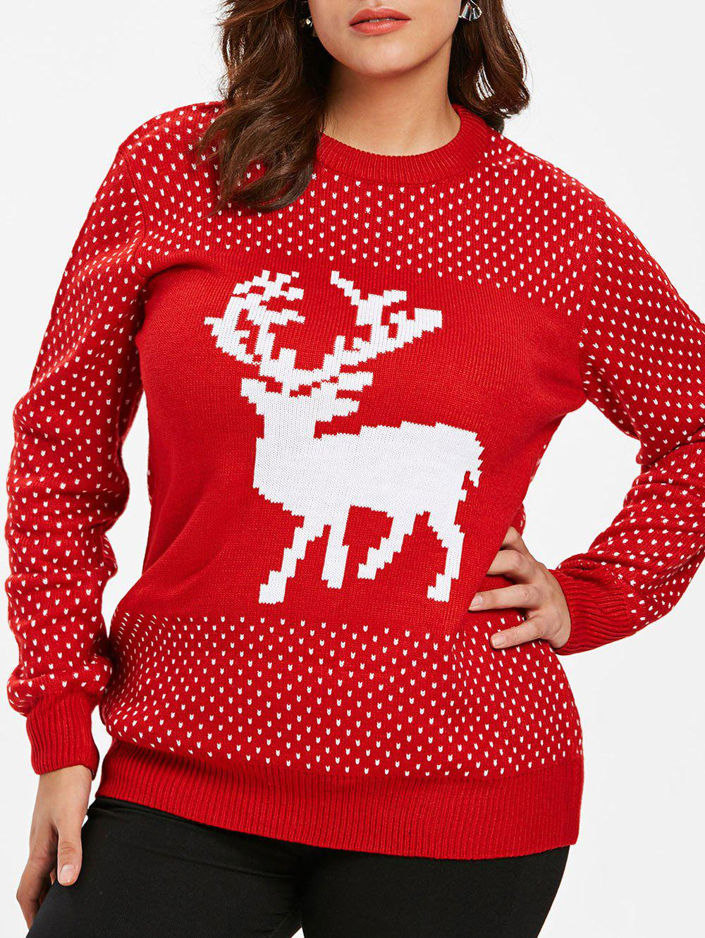 Discount Christmas Elk Print Plus Size Long Sleeve Pullover Sweater