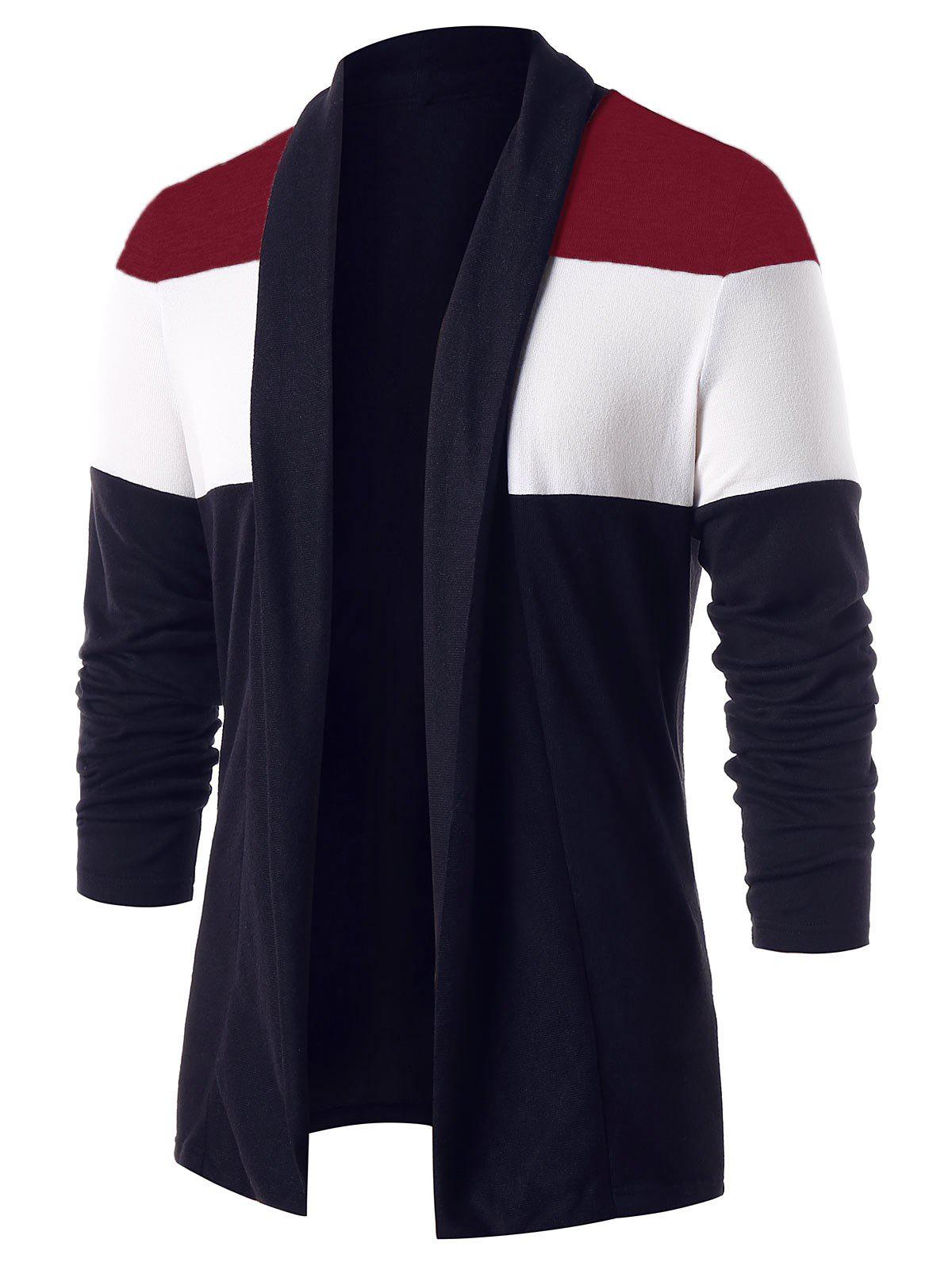 Outfit Casual Color Block Open Front Cardigan