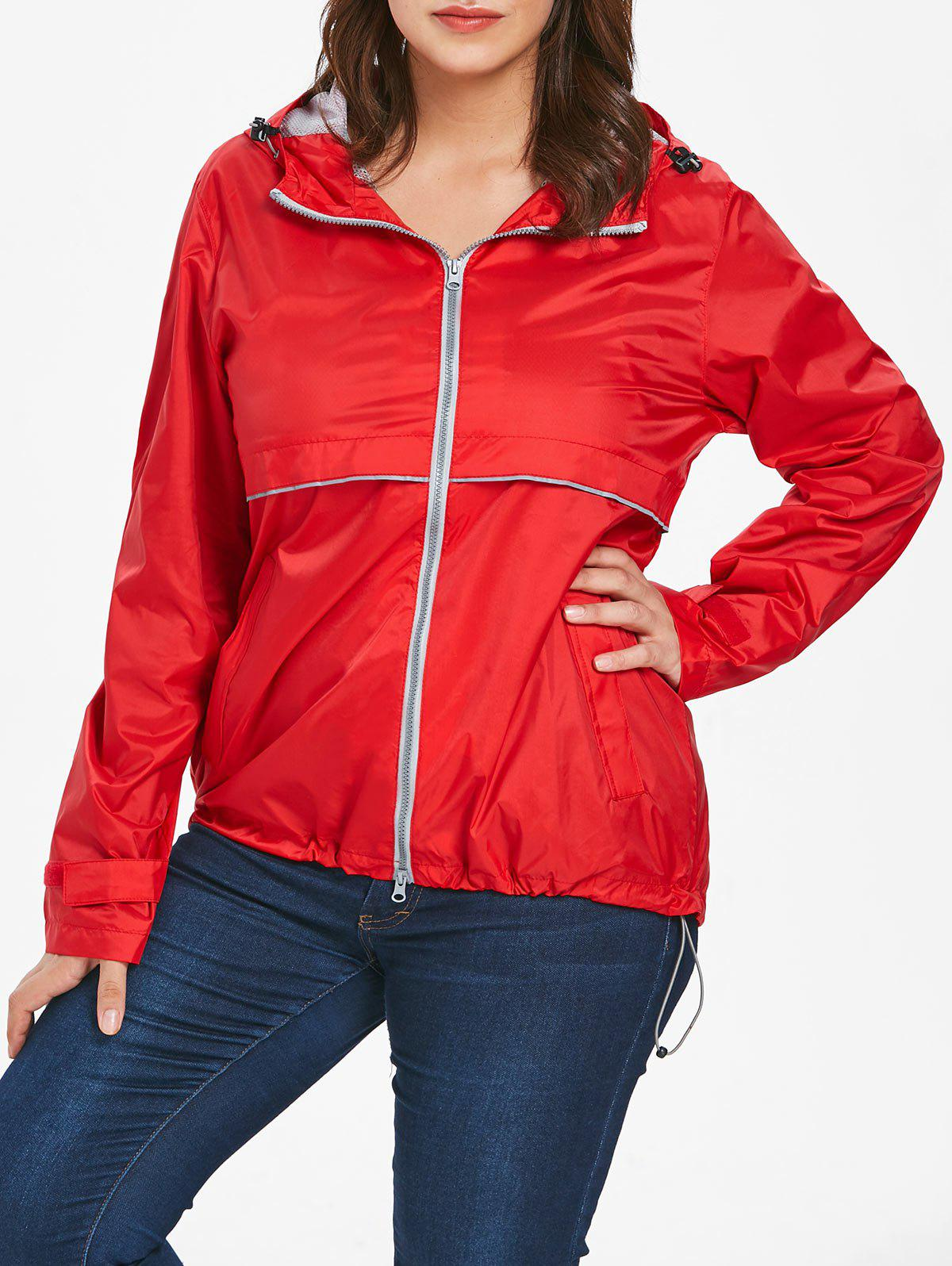 Chic Lightweight Plus Size Hooded Zip-Up Jacket