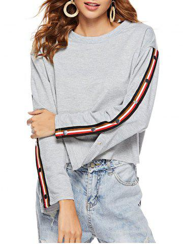 Split Sleeves Buttons Cropped Sweatshirt