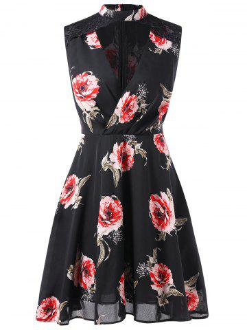 Floral Print Mock Neck Sleeveless Dress
