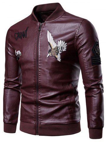 Letter Bird Embroidery Faux Leather Zip Up Jacket