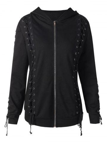 Front Zip Lace Up Hoodie