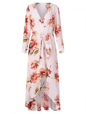 Long Sleeve Floral Surplice Dress