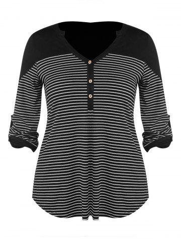 Plus Size Buttons Striped V Neck Top