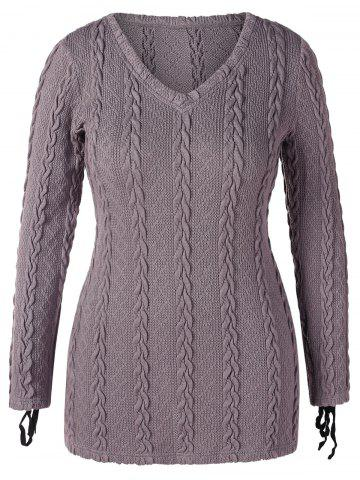 V Neck Plus Size Cable Knit Sweater