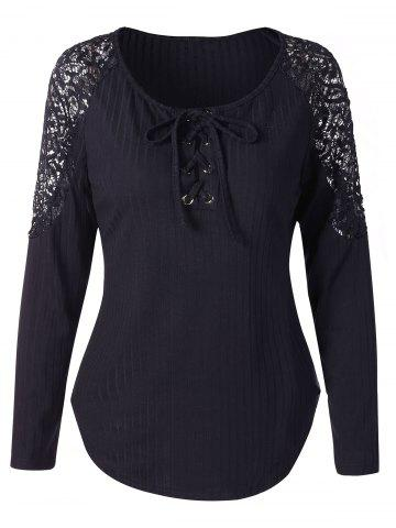 Lace Panel Long Sleeve Knit Tee