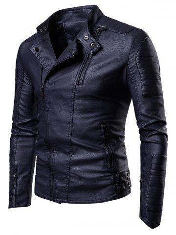 Faux Leather Slant Zipper Placket Stand Collar Jacket