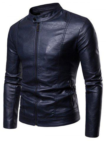 Faux Leather Solid Color Zipper Pocket Jacket