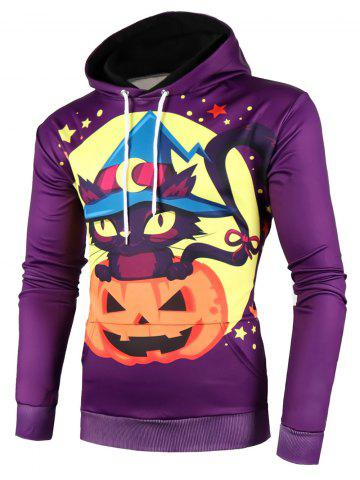 Halloween Pumpkin Cat Star Print Pocket Hoodie