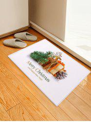 Christmas Decoration Golden Elk Gift Print Floor Mat -