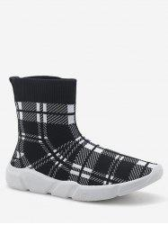 Stretch Knit High Top Platform Sneakers -