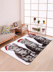 Christmas Cats Printed Antiskid Floor Mat -