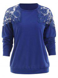 Hollow Out Lace Panel Sweatshirt -