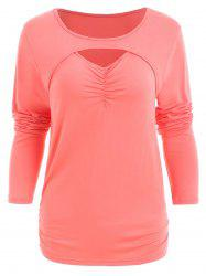 Full Sleeve Ruched Front Slim T-shirt -
