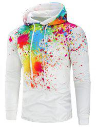 Colorful Paint Splatter Drawstring Hoodie -
