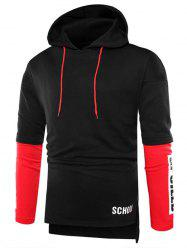 Color Blcok Letter Print Pullover Hoodie -