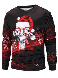 Sheep Christmas Cap Print Pullover Sweatshirt -
