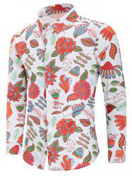 Plant Print Long Sleeve Shirt -