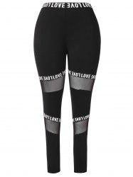 Letter Graphic Band Mesh Inset Plus Size Leggings -