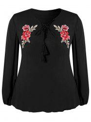 Plus Size Lace Up Tassels Embroidered Blouse -
