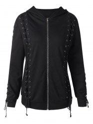 Front Zip Lace Up Hoodie -