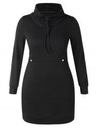 Plus Size Cowl Neck Mini Tight Dress -