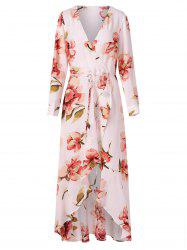 Long Sleeve Floral Surplice Dress -