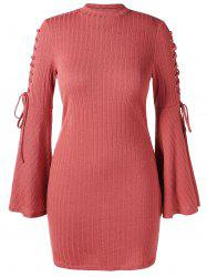 Plus Size Lace Up Ribbed Bodycon Dress -